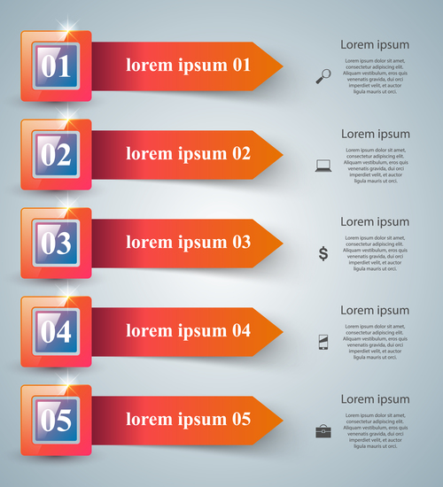 color box infographic with arrows vector