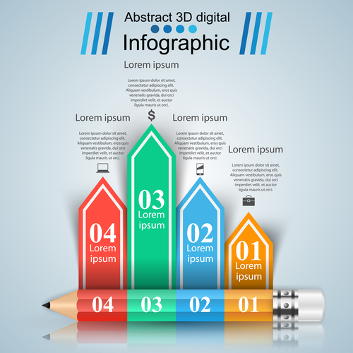 color pencil with option infographic vector