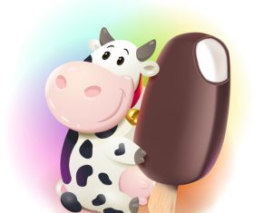cow with chocolate ice cream vector material