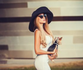 fashion woman is holding pet dog posing Stock Photo 11
