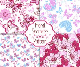 floral seamless pattern with decorative hearts and butterflies vector (2)