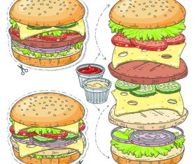 hamburger elements sticker vector