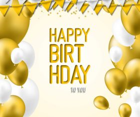 holiday birthday background with golden ballons and confetti vector 01