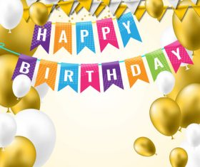 holiday birthday background with golden ballons and confetti vector 02