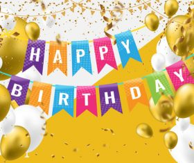 holiday birthday background with golden ballons and confetti vector 03