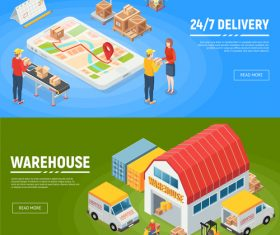 isometric logistics banners vector