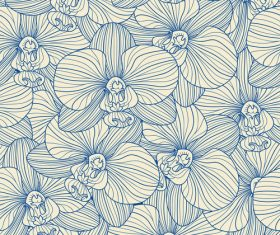 orchid seamless pattern vector 03