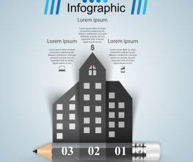 pencil city infographic template vectors