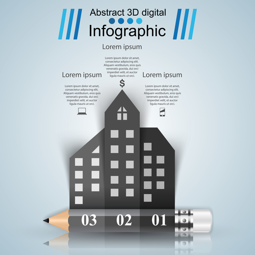 pencil city infographic template vectors