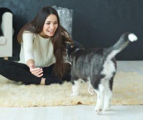 puppies husky and girl play Stock Photo 01