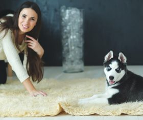 puppies husky and girl play Stock Photo 02