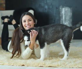 puppies husky and girl play Stock Photo 04