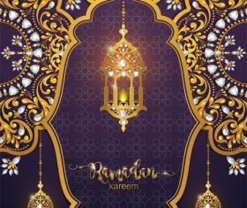 ramadan kareem purple with golden background vector 01
