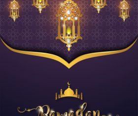 ramadan kareem purple with golden background vector 02