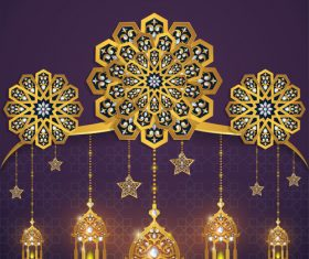 ramadan kareem purple with golden background vector 03