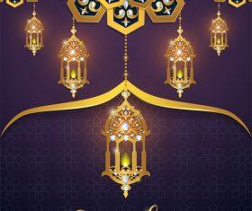 ramadan kareem purple with golden background vector 04
