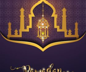 ramadan kareem purple with golden background vector 05