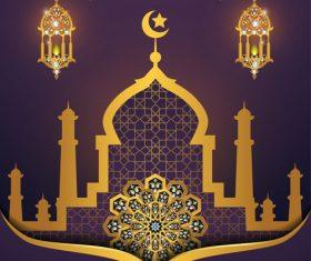 ramadan kareem purple with golden background vector 06