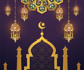ramadan kareem purple with golden background vector 07