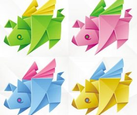 rhinoceros origami vector illustration