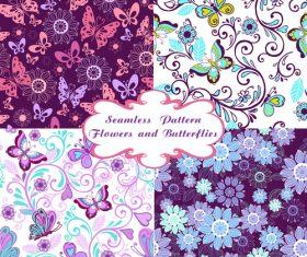 set seamless pattern with flowers and butterflies vector