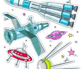 spacecraft sticker vector