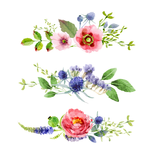 watercolor floral borders design vector
