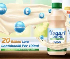 yogurt drink poster design vector material 02