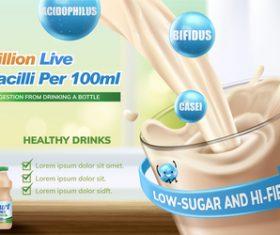 yogurt drink poster design vector material 03