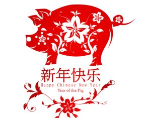 2019 Chinese New Year Background with pig paper cut vector
