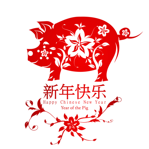 2019 Chinese New Year Background with pig paper cut vector free download