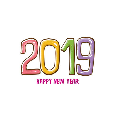 2019 Happy New year funny illustration vector 03 free download