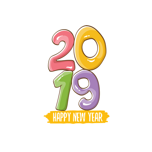 2019 Happy New year funny illustration vector 09 free download