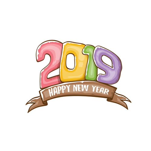 2019 Happy New year funny illustration vector 14 free download