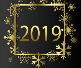 2019 New Year with christmas golden decor vector