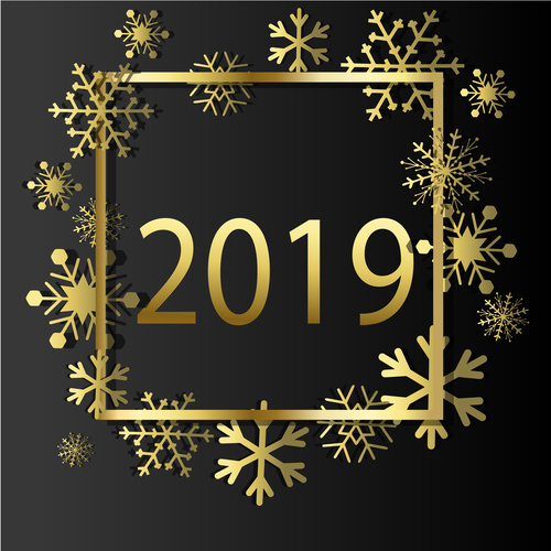 2019 new year with christmas golden decor vector free download2019 new year with christmas golden decor vector