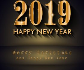 2019 New Year with merry christmas design vectors