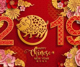 2019 New year with pig year design elements vector 02