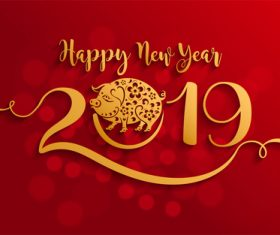 2019 New year with pig year design elements vector 03