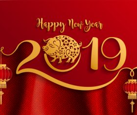2019 New year with pig year design elements vector 04