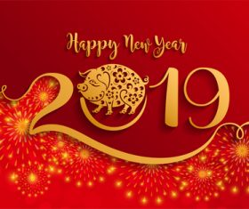2019 New year with pig year design elements vector 05
