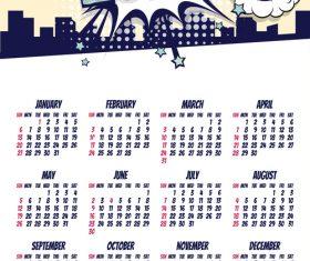 2019 cartoon calendar template vectors 01