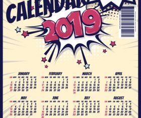2019 cartoon calendar template vectors 02