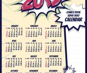 2019 cartoon calendar template vectors 03