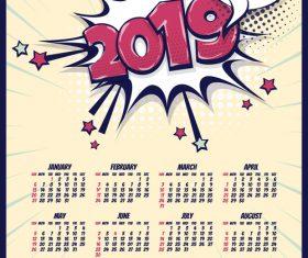 2019 cartoon calendar template vectors 04