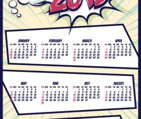 2019 cartoon calendar template vectors 05