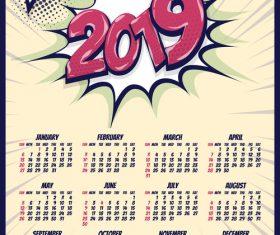 2019 cartoon calendar template vectors 06