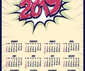 2019 cartoon calendar template vectors 07