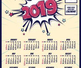 2019 cartoon calendar template vectors 08
