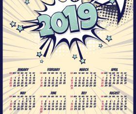 2019 cartoon calendar template vectors 09